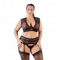 Cottelli Collection Bralette and String Set Plus Size