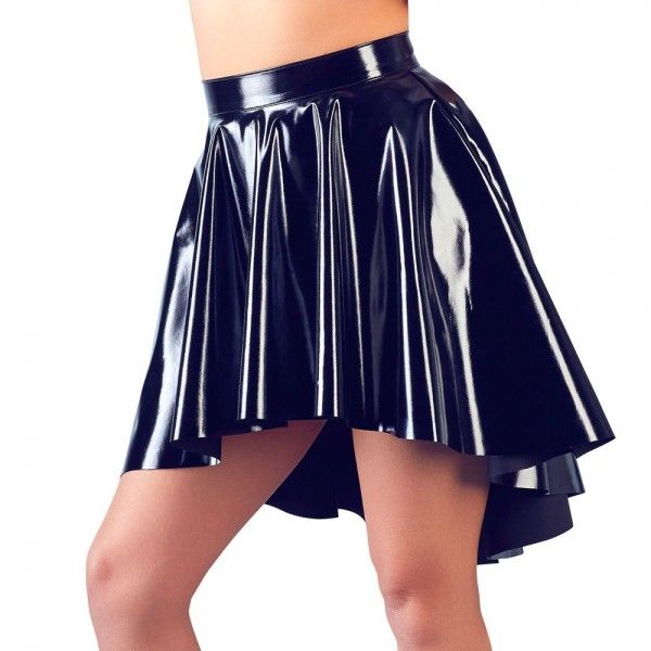 Black Level Black Vinyl Asymmetrical Rock Skirt