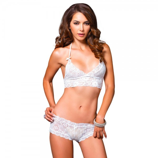 Leg Avenue Halter Bra and Cut Out Shorts
