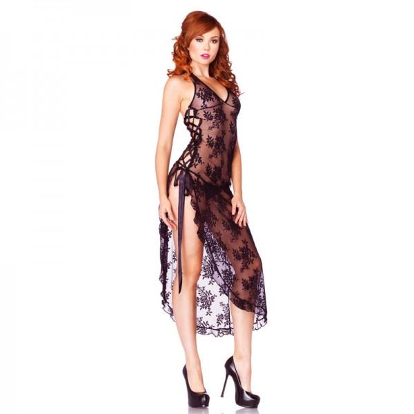 Leg Avenue 2 Piece Rose Lace Long Dress With Lace Side
