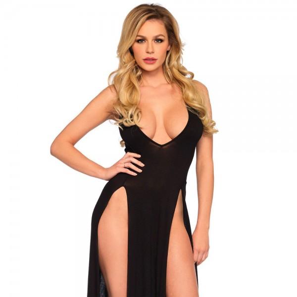 Leg Avenue Deep V Dual Slit  Jersey Maxi Dress