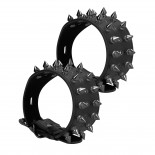 Ouch<br /> Skulls And Bones Black Ankle Cuffs With Spikes