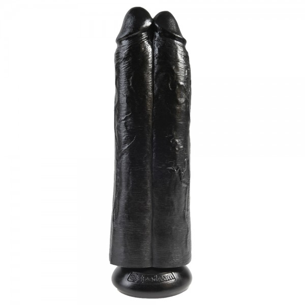 King Cock Two Cocks One Hole 11 Inch Black  Hollow Strap-On