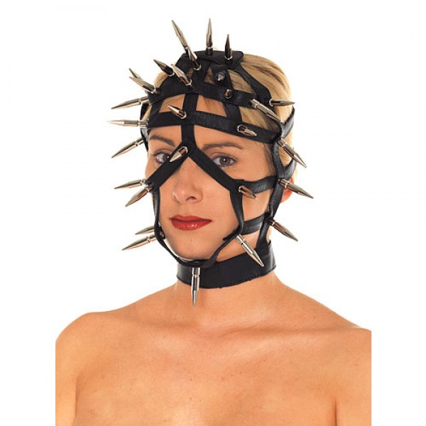 Rimba Leather Spiked Face Mask With Open Straps
